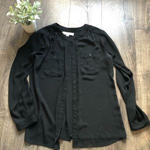 Black Chiffon button up blouse